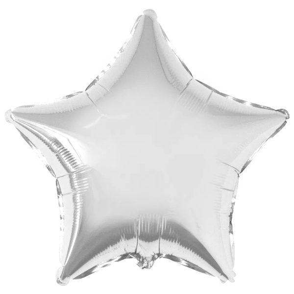 Фольгированная звезда серебренного цвета.