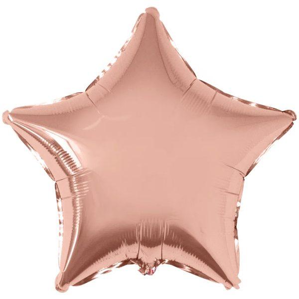 Фольгированная звезда розовое золото.