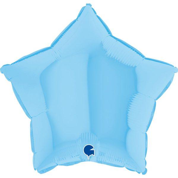Фольгированная звезда макарун голубой.