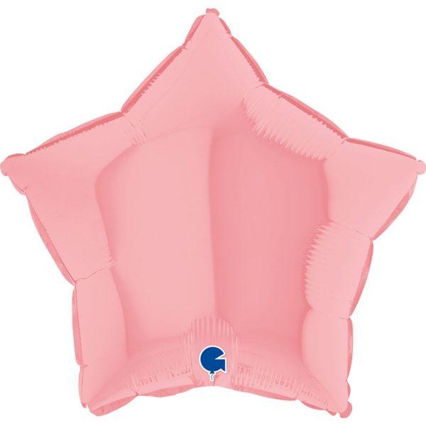 Фольгированная звезда макарун розовый.