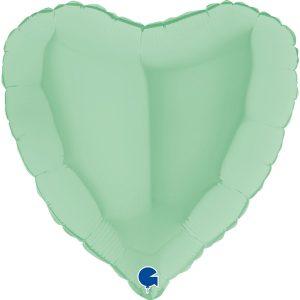 Фольгированное сердце макарун мятный