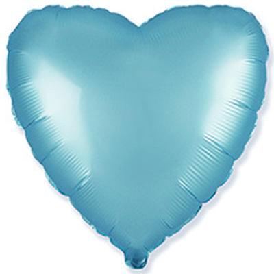 Фольгированное сердце сатин голубое