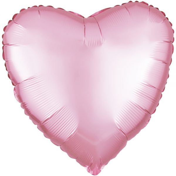 Фольгированное сердце сатин розовое.