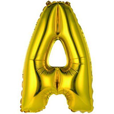 """Фольгированный воздушный шар в форме золотистой буквы """"А"""""""