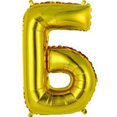 """Фольгированный воздушный шар в форме золотистой буквы """"Б"""""""