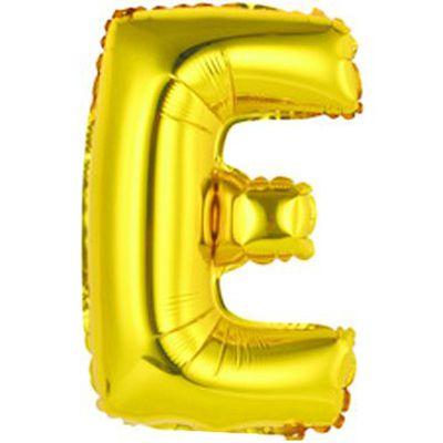 """Фольгированный воздушный шар в форме золотистой буквы """"Е"""""""