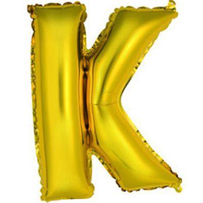 """Фольгированный воздушный шар в форме золотистой буквы """"К"""". Размер в надутом виде - 14 дюймов (около 36 сантиметров). Надувается воздухом (не летает с гелием)."""