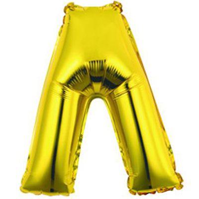 """Фольгированный воздушный шар в форме золотистой буквы """"Л"""""""