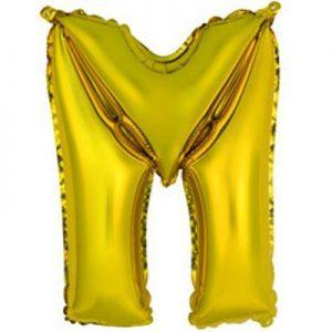 """Фольгированный воздушный шар в форме золотистой буквы """"М"""""""