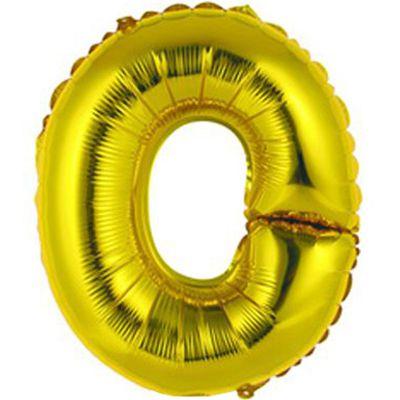 """Фольгированный воздушный шар в форме золотистой буквы """"О"""""""