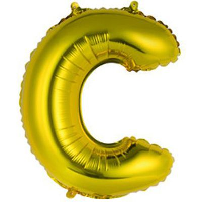 """Фольгированный воздушный шар в форме золотистой буквы """"С""""."""