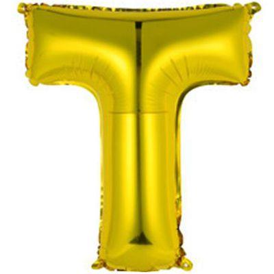"""Фольгированный воздушный шар в форме золотистой буквы """"Т"""""""