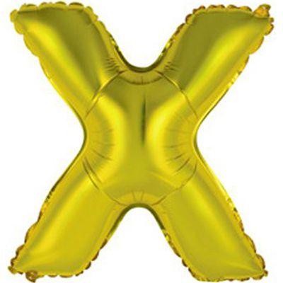 """Фольгированный воздушный шар в форме золотистой буквы """"Х"""""""