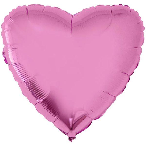 Фольгированное сердце розовое.