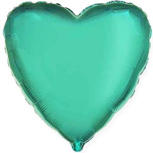 Фольгированное сердце изумрудное