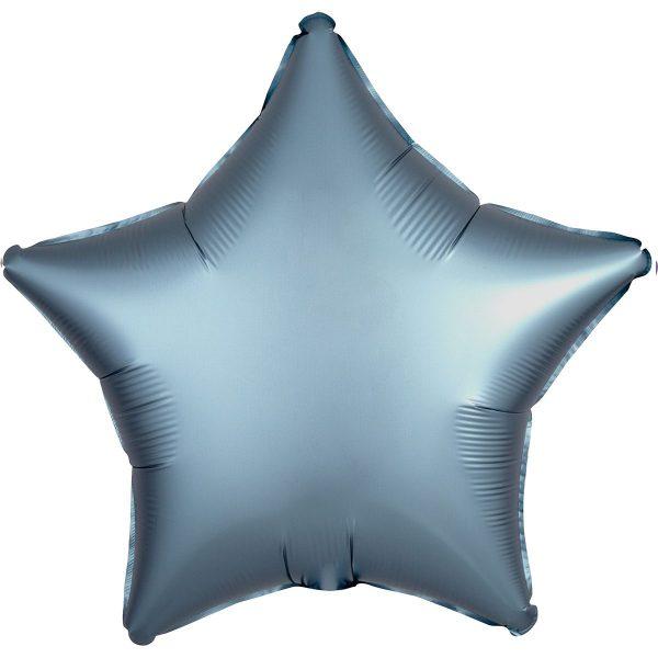 Фольгированная звезда сатин синяя сталь.