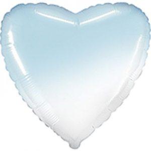Фольгированное сердце бело-голубое.