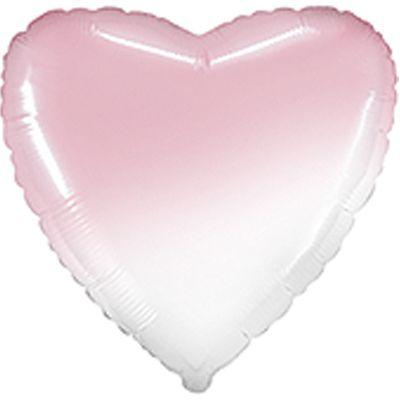 Фольгированное сердце бело-розовое. Размер 45 см.