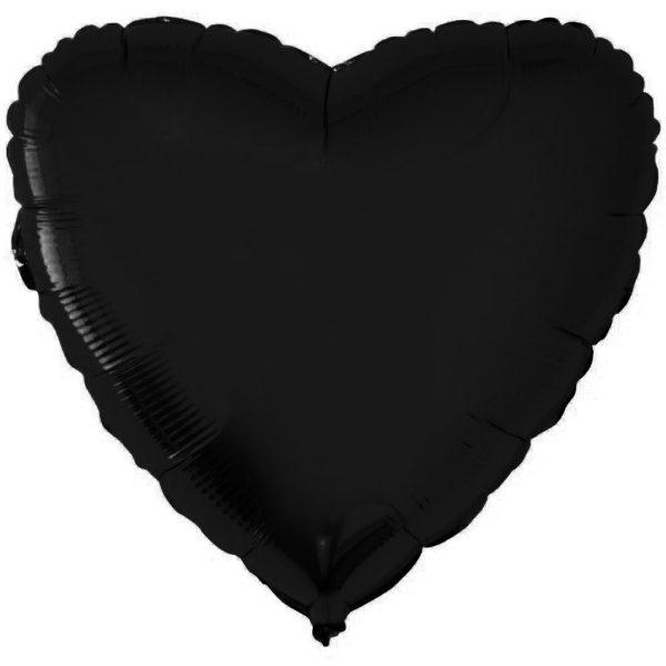 Фольгированное сердце черное.