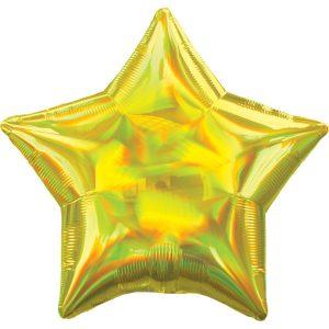 Фольгированная звезда золото голография