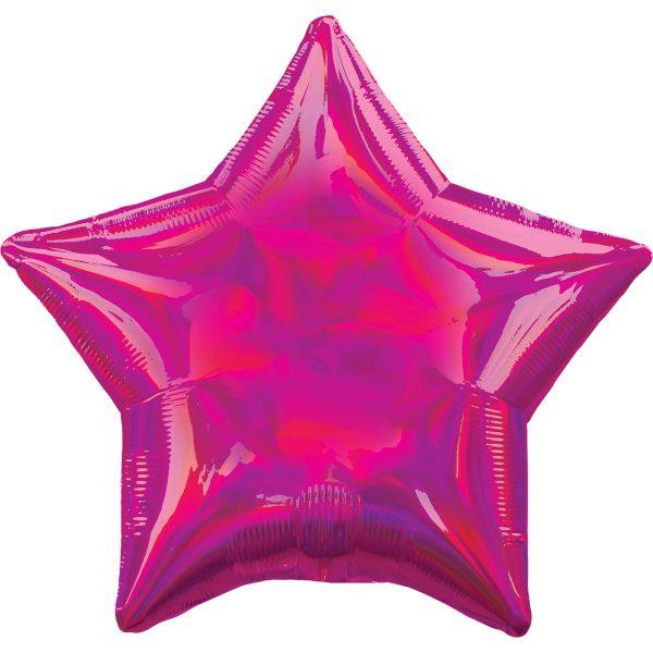 Фольгированная звезда розовая голография