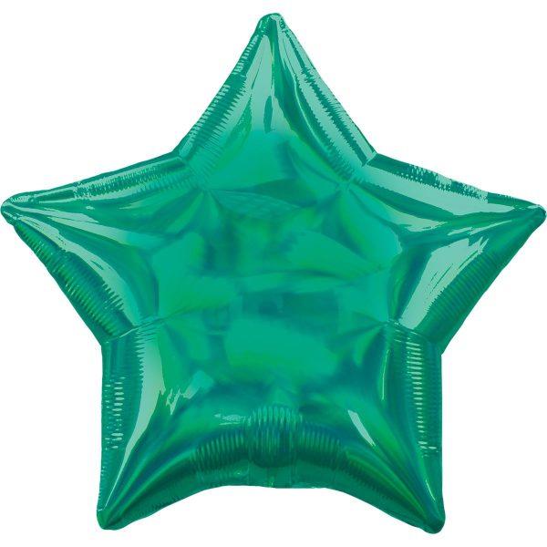 Фольгированная звезда зеленая голография.