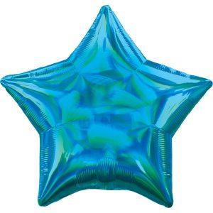 Фольгированная звезда голубая голография.