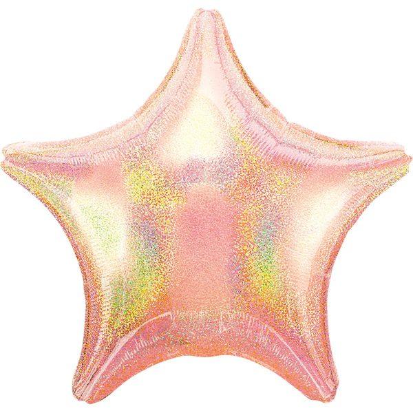 Фольгированная звезда светло-розовая голография.