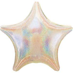 Фольгированная звезда серебро голография.