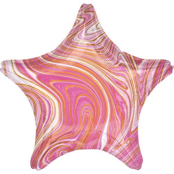 Фольгированный шар в форме звезды с мраморным узором розового цвета.