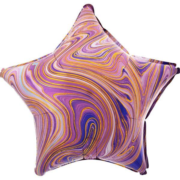 Фольгированный шар в форме звезды с мраморным узором фиолетового цвета.