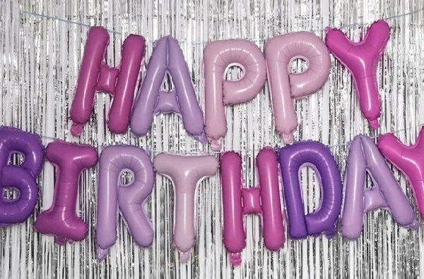 """Комплект фольгированных букв, составляющих надпись """"Happy Birthday"""""""