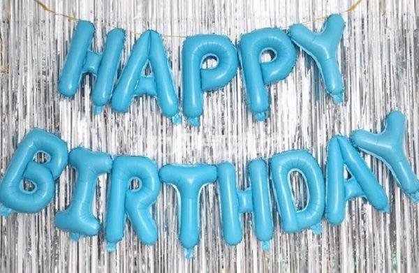 """Комплект фольгированных букв голубого цвета, составляющих надпись """"Happy Birthday"""""""