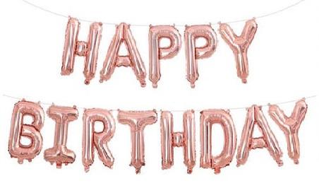"""Комплект фольгированных букв цвета розовое золото, составляющих надпись """"Happy Birthday"""""""