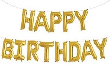 """Комплект фольгированных золотистых букв, составляющих надпись """"Happy Birthday"""""""